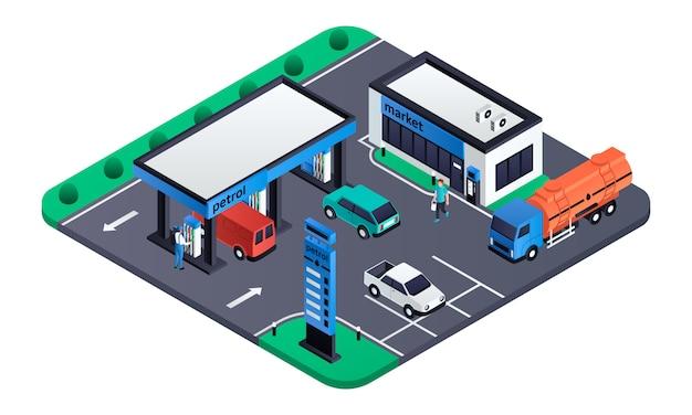Illustration de la station d'essence moderne, style isométrique Vecteur Premium