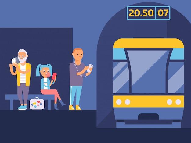 Illustration De La Station De Métro. Différentes Personnes En Attente De Train Avec Des Gadgets. Garçon écoutant De La Musique Sur Son Téléphone Portable. Vecteur Premium
