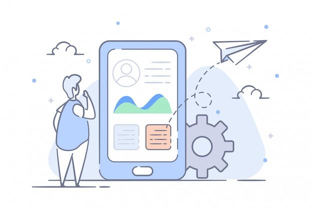 Illustration Statistique Du Profil Vecteur Premium