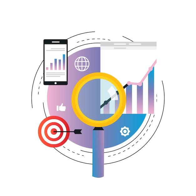 Illustration de statistiques graphique entreprise. analyse de données commerciales, analyse de seo Vecteur Premium