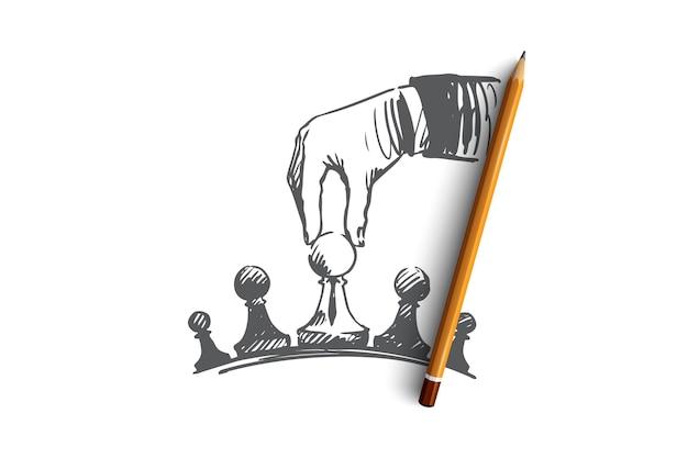 Illustration De La Stratégie Dessinée à La Main Vecteur Premium