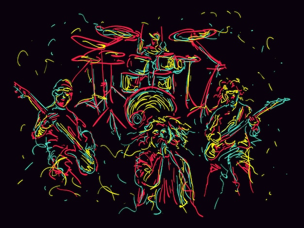Illustration De Style Abstrait D'un Groupe De Musique Vecteur Premium