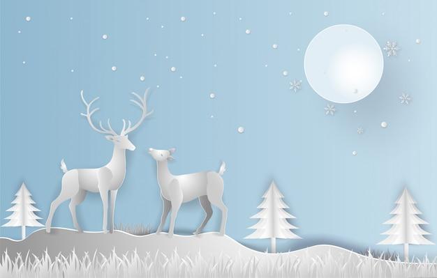 Illustration style art papier de la saison d'hiver et belle de renne avec paysage Vecteur Premium