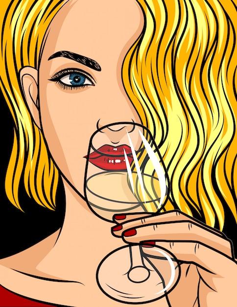 Illustration de style bande dessinée pop art, fille blonde avec rouge à lèvres et les cheveux ondulés Vecteur Premium