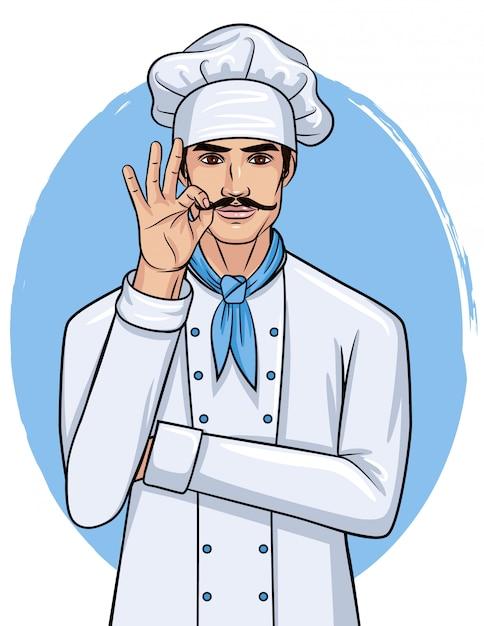 Illustration De Style Dessin Animé De Vecteur D'un Beau Jeune Homme En Uniforme De Cuisinier. Chef Avec Spectacle De Moustache Vecteur Premium