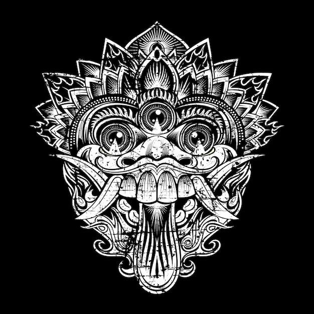 Illustration de style grunge masques de dieu mythologique. style balinais Vecteur Premium