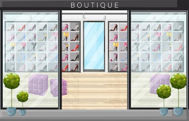 Illustration de style plat boutique de magasin de chaussures Vecteur Premium