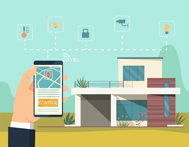 Illustration De Style Plat Concept Maison Intelligente Vecteur Premium