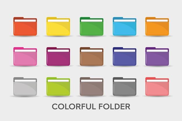 Illustration De Style Plat Simple Icône Dossiers Colorés. Vecteur Premium