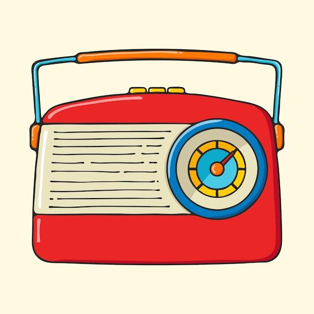 Illustration de style pop art rétro radio portable dessinés à la main. Vecteur Premium