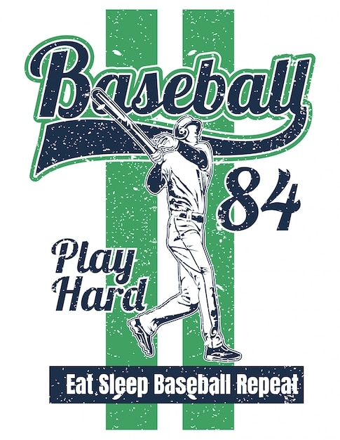 Illustration de style vintage joueur de baseball Vecteur Premium
