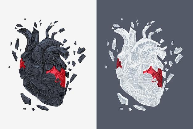 Illustration Stylisée Du Cœur Couvert De Craquelures Avec De La Pierre. Vecteur Vecteur Premium