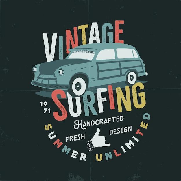 Illustration De Surf Dessinée à La Main Vintage Vecteur Premium
