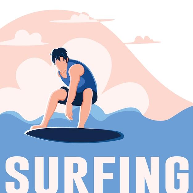 Illustration de surfeur Vecteur Premium