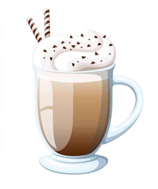 Illustration De Tasse De Café Irlandais Cocktail De Boisson Latte Chaude Avec Mousse Crémeuse, Cocktail De Café Cappuccino En Couches Avec De L'alcool, Logo Avec Titre Brun - Café Irlandais, Tasse En Verre D'expresso. Vecteur Premium