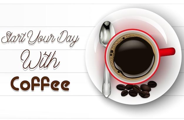 Illustration de tasse de café rouge réaliste Vecteur Premium