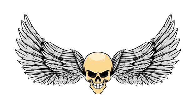 Illustration De Tatouage De Crâne Mort Brillant Avec Des Ailes Vecteur Premium