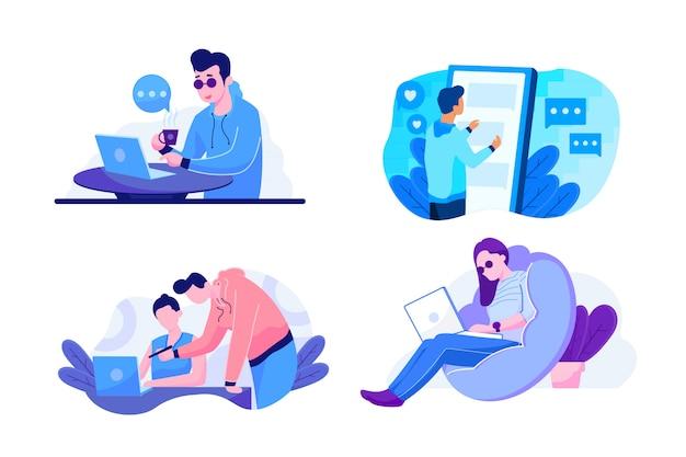 Illustration De La Technologie Et Du Travail Pour La Page De Destination Vecteur Premium