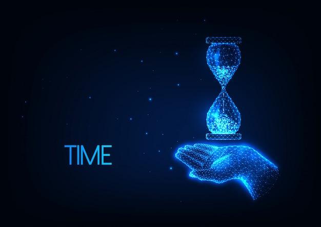 Illustration De Temps Futuriste Avec Une Main Polygonale Faible Brillante Tenant Un Sablier Vecteur Premium