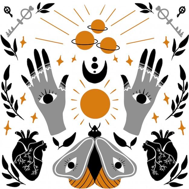 Illustration Tendance Magique Et Occulte Vecteur Premium