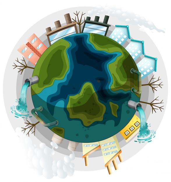 Une illustration de terre polluée Vecteur gratuit