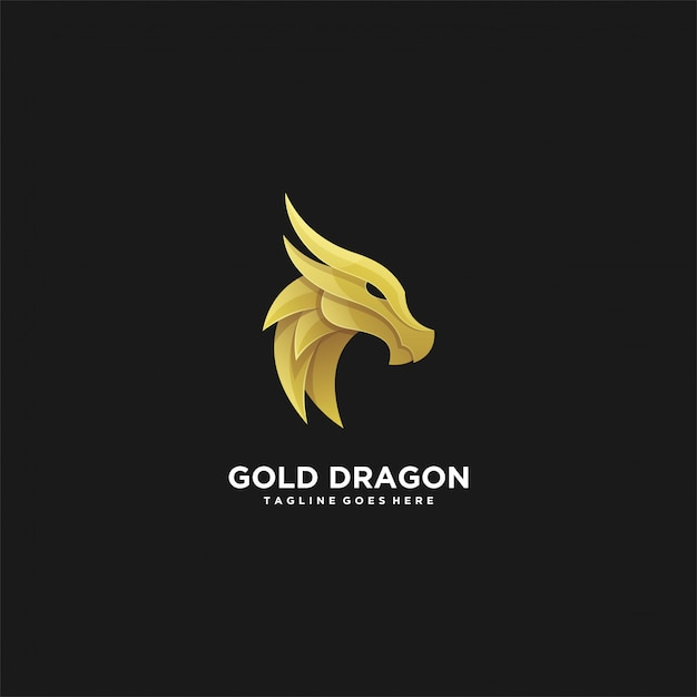 Illustration Tête Abstraite Dragon Doré Luxe Vecteur Premium