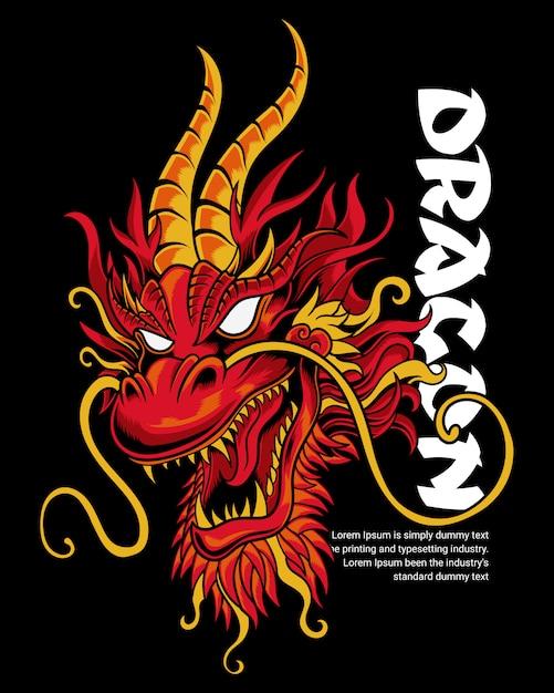 Illustration tête de dragon Vecteur Premium