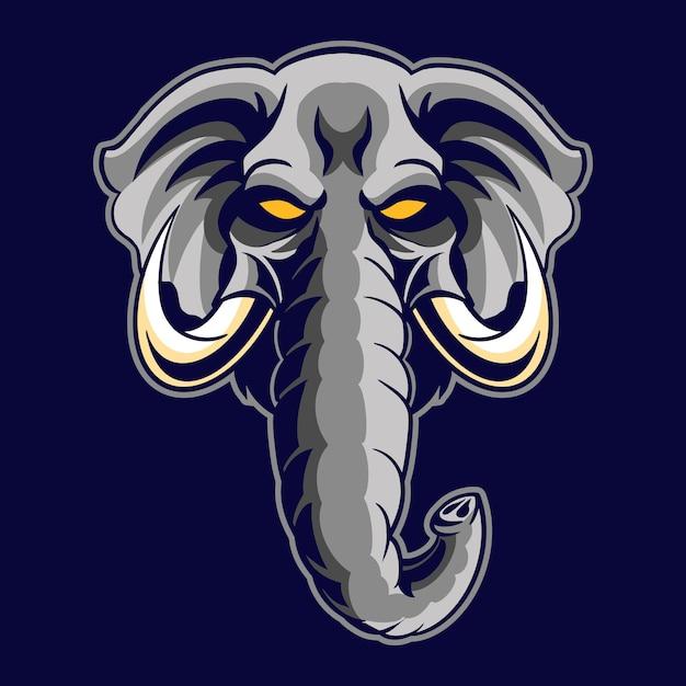 Illustration De Tête D'éléphant En Colère Vecteur Premium