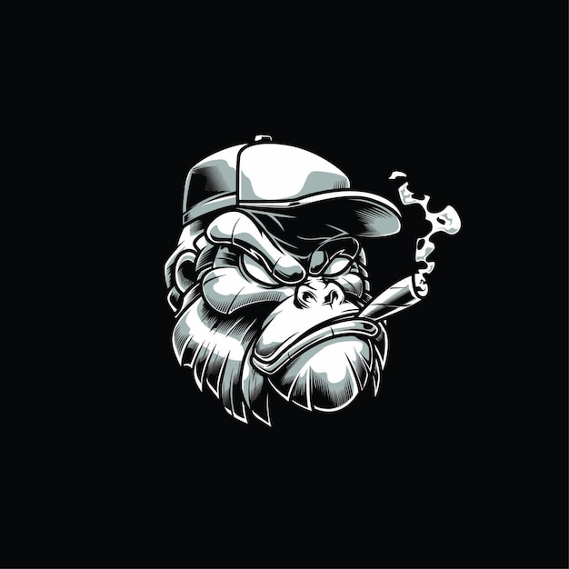 Illustration de la tête de gorille Vecteur Premium