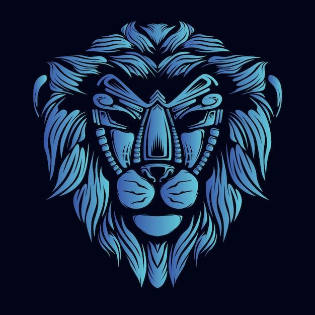Illustration De Tête De Lion Bleu Vecteur Premium