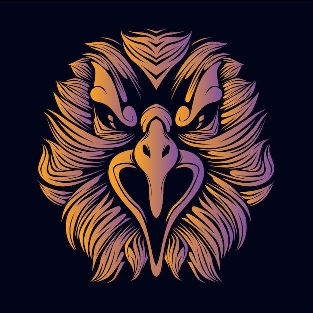 Illustration Tête Orange Aigle Vecteur Premium