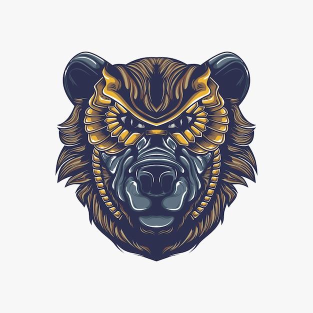 Illustration De Tête D'ours Vecteur Premium