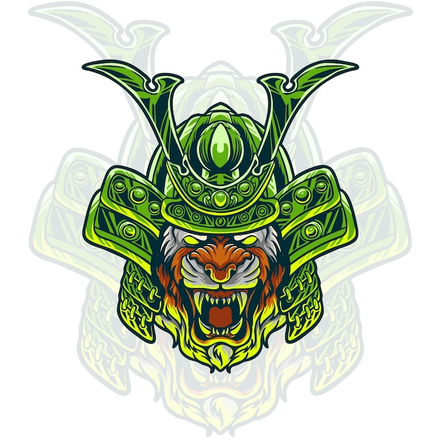 Illustration De Tête De Samouraï Tigre Vecteur Premium