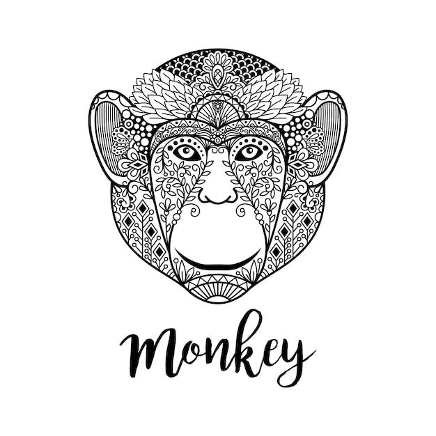 Illustration de tête de singe avec des motifs ethniques Vecteur Premium