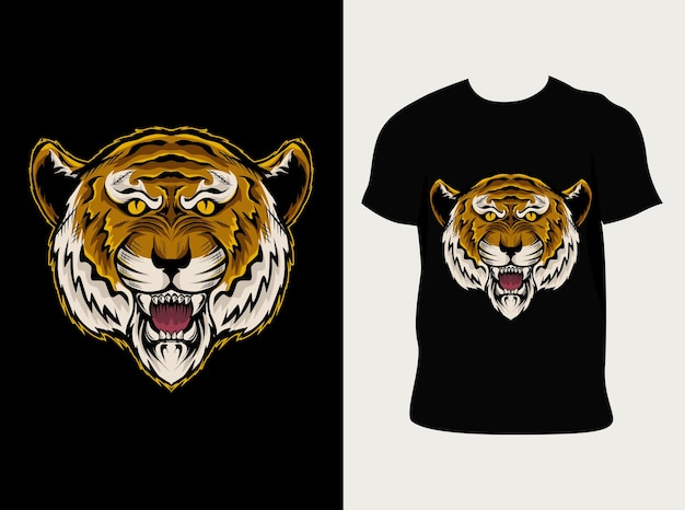 Illustration Tête De Tigre Avec Conception De T-shirt Vecteur Premium