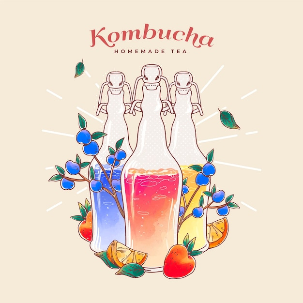 Illustration De Thé Kombucha Aquarelle Vecteur gratuit
