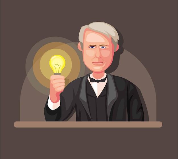 Illustration De Thomas Alva Edison Inventeur Du Concept D'ampoule Et De Générateur D'énergie électrique En Illustration De Dessin Animé Vecteur Premium