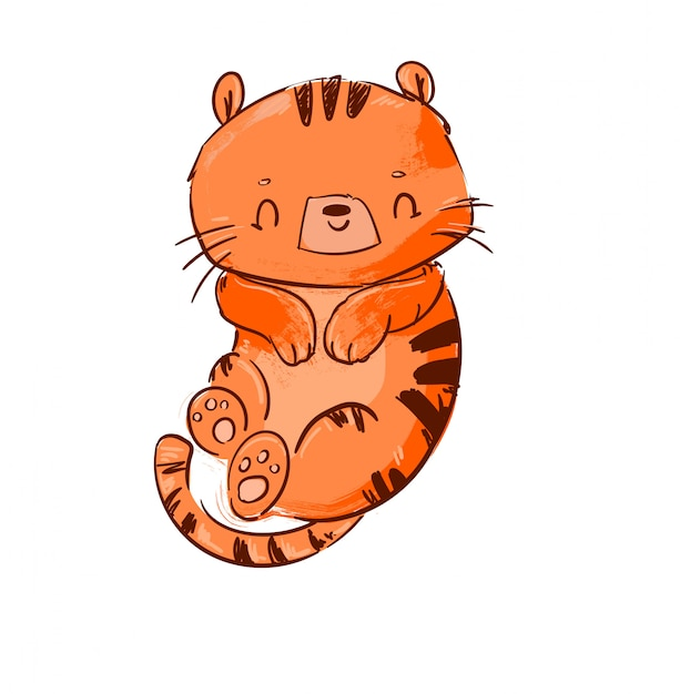 Illustration De Tigre Mignon. Vecteur Premium