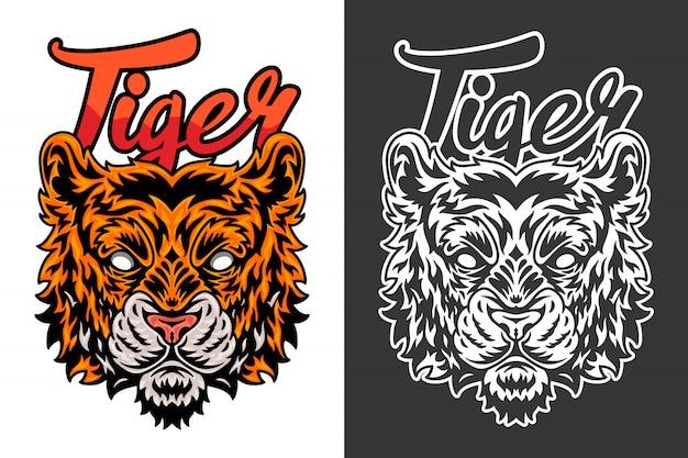 Illustration de tigre vintage Vecteur Premium