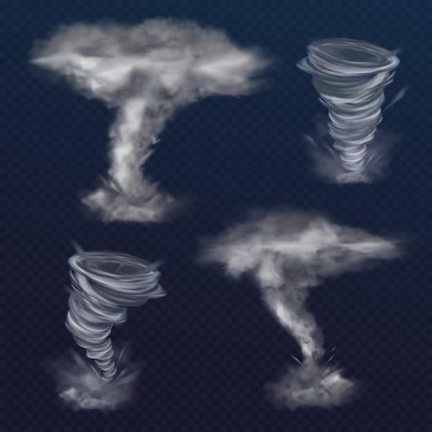 Illustration de tornade twister du vent d'ouragan réaliste ou du cyclone vortex. Vecteur gratuit