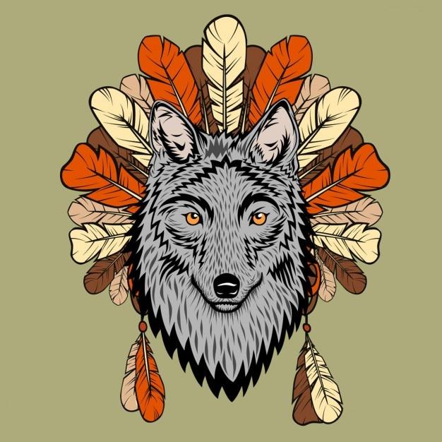 Une illustration de totem avec loup et plumes Vecteur gratuit
