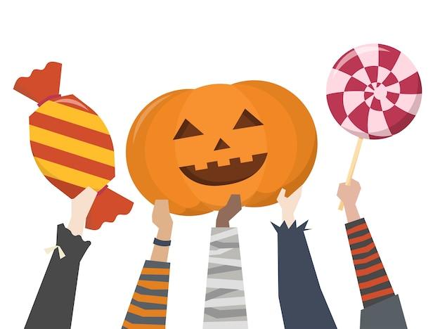 Illustration d'un tour ou d'une gâterie d'halloween Vecteur gratuit