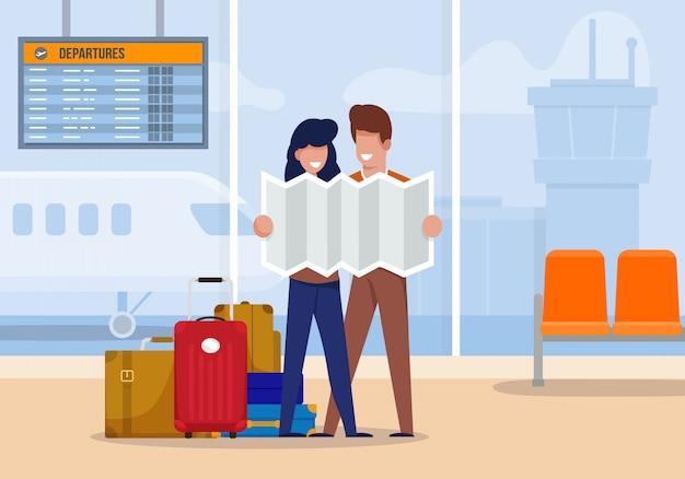 Illustration les touristes explorent la route à l'aéroport. Vecteur Premium