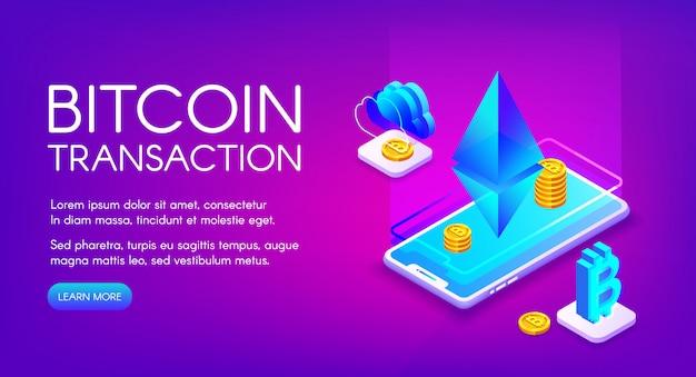 Illustration De La Transaction Bitcoin Du Commerce Et De L'échange De Crypto-monnaie Sur Smartphone Ethereum Vecteur gratuit