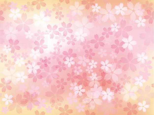 Illustration Transparente Avec Des Fleurs De Cerisier En Pleine Floraison Horizontalement Et Verticalement Répétable Vecteur gratuit