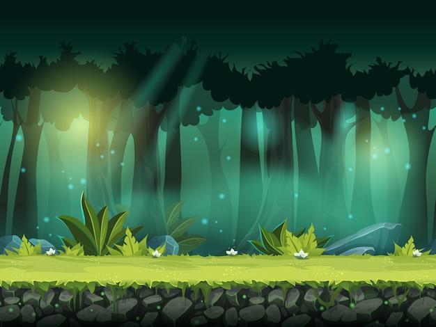 Illustration Transparente Horizontale De Vecteur De Forêt Dans Une Brume Magique Vecteur Premium
