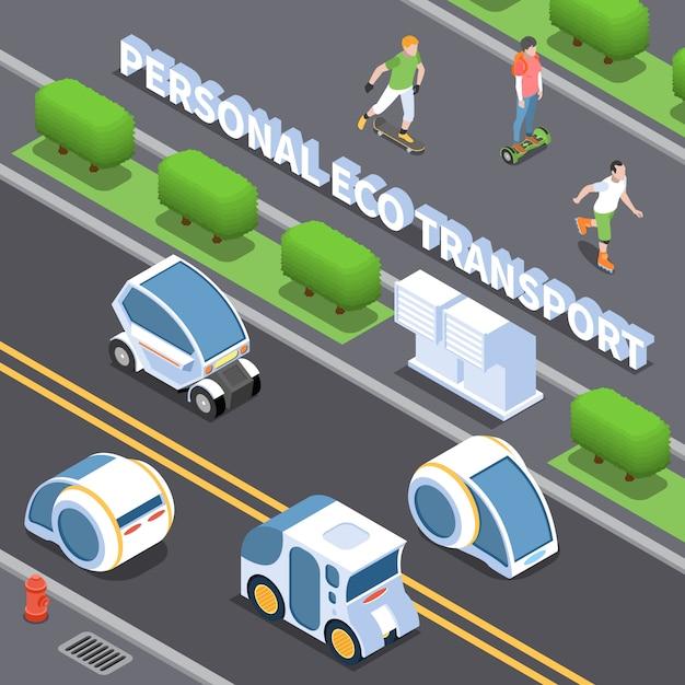 Illustration De Transport écologique Personnel Avec Symboles De Voitures électriques Isométrique Vecteur gratuit