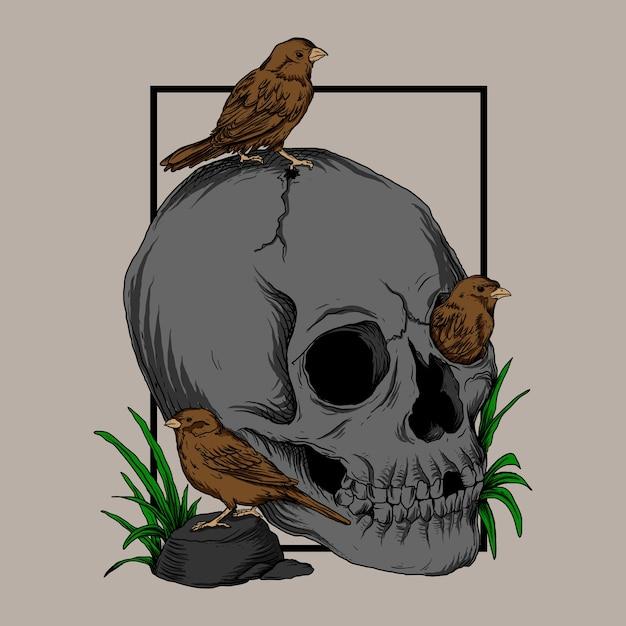 Illustration De Travail Dart Et Conception De T-shirt Crâne Et Oiseau Vecteur Premium
