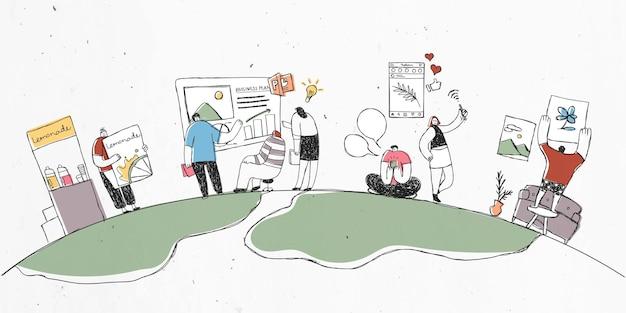 Illustration De Travail D'équipe Dessinée à La Main Colorée Avec Un Groupe De Personnes Dans Le Monde Vecteur gratuit