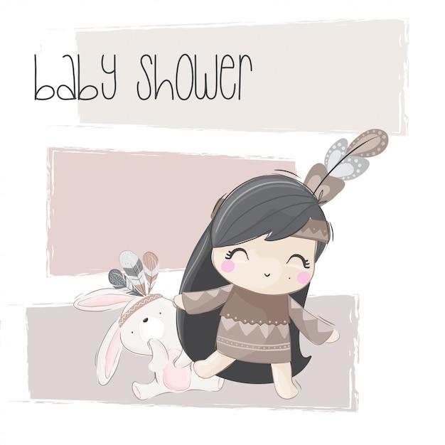 Illustration tribale mignonne petite fille Vecteur Premium